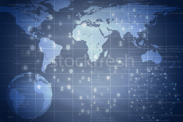Blue abstract background with Earth and world map Stock photo © cherezoff