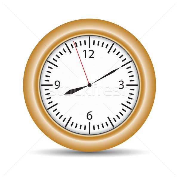 Round clock with brown frame on white Stock photo © cherezoff