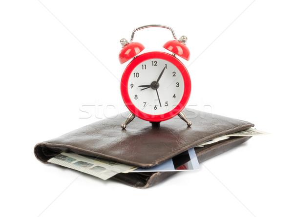 目覚まし時計 財布 孤立した 白 クロック クレジットカード ストックフォト © cherezoff