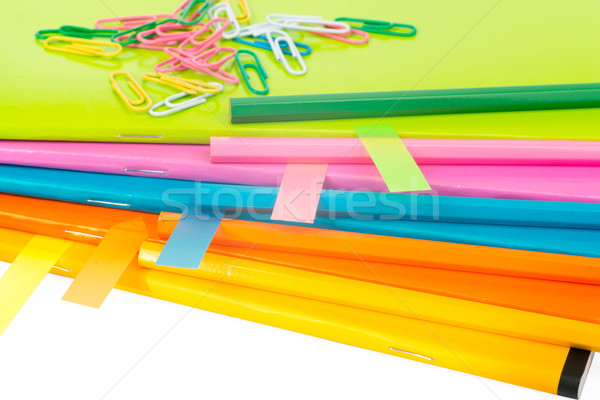Colorful copybooks with stickers, close up view Stock photo © cherezoff