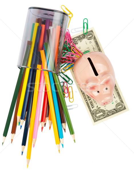 Persely zsírkréták papír pénz háttér bank Stock fotó © cherezoff