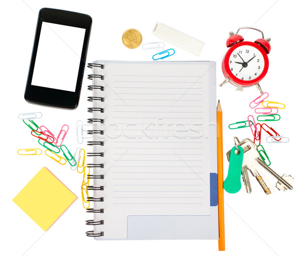 Stock photo: Open notebook with stationery and smartphone