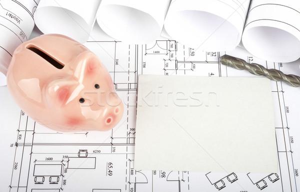 üres kártya persely terv felső kilátás épületek Stock fotó © cherezoff