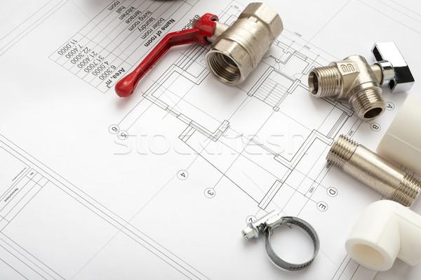 Mimari plan planları kırmızı mikser Stok fotoğraf © cherezoff