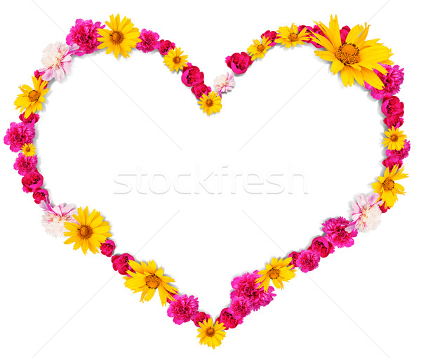 Heart shape from flowers Stock photo © cherezoff
