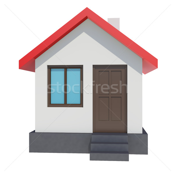 Small house with red roof on white background Stock photo © cherezoff