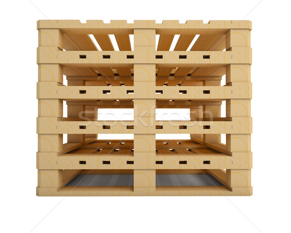 Stock photo: New wooden pallets isolated on white