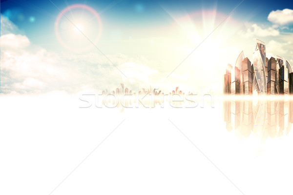 High-rise business building against sky with sun Stock photo © cherezoff
