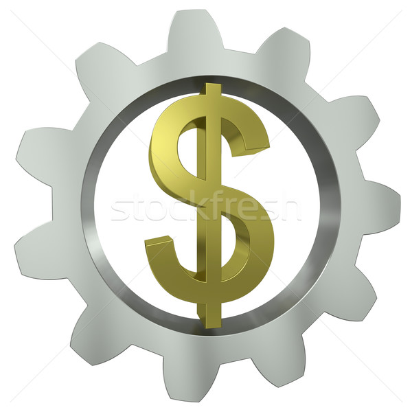 The dollar sign in a metal gear Stock photo © cherezoff