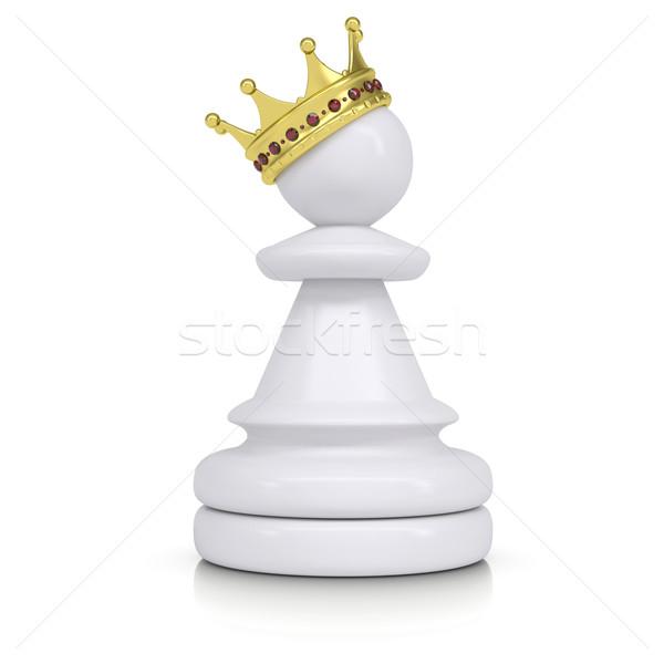 Pion goud kroon geïsoleerd witte schaken Stockfoto © cherezoff