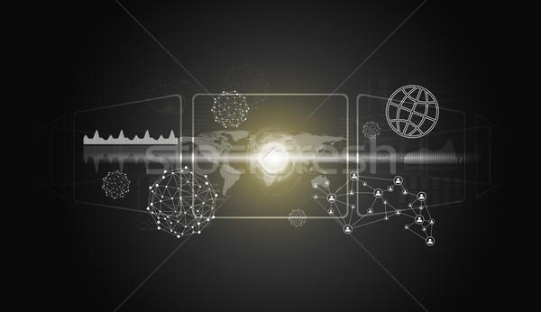 Weltkarte Netzwerk Technologie Kreis Symbol Bereich Stock foto © cherezoff