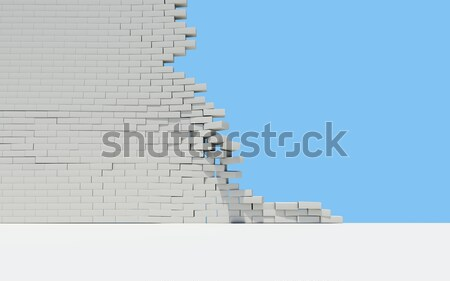 Ruined brick wall and sky Stock photo © cherezoff