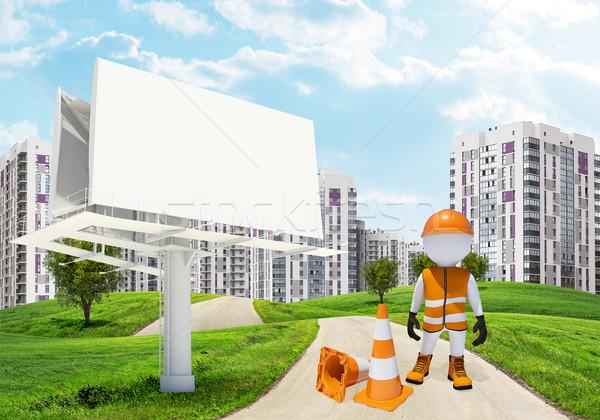 Three-dimensional worker by billbord on road running through green hills towards sity Stock photo © cherezoff