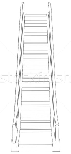 Schets roltrap 3D Stockfoto © cherezoff