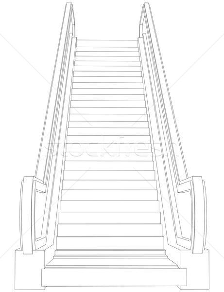 Tel kafes yürüyen merdiven görmek 3D Stok fotoğraf © cherezoff