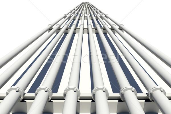 Witte industriële pijpen afstand geïsoleerd Stockfoto © cherezoff