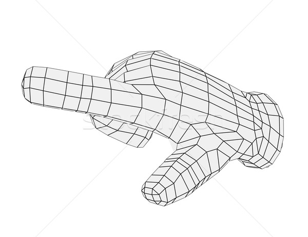 Wire-frame hand pointing finger. Front view Stock photo © cherezoff