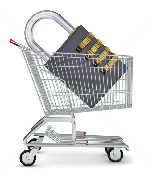 Padlock in shopping cart Stock photo © cherezoff