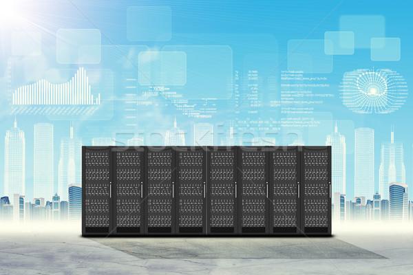Ingesteld staal stadsgezicht abstract grafieken wolken Stockfoto © cherezoff