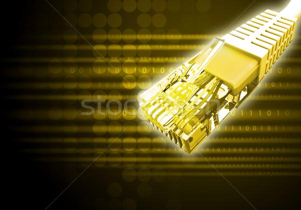 żółty kabel komputerowy numery streszczenie Zdjęcia stock © cherezoff