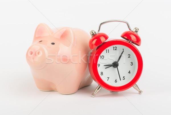 ébresztőóra persely piros óra idő kövér Stock fotó © cherezoff