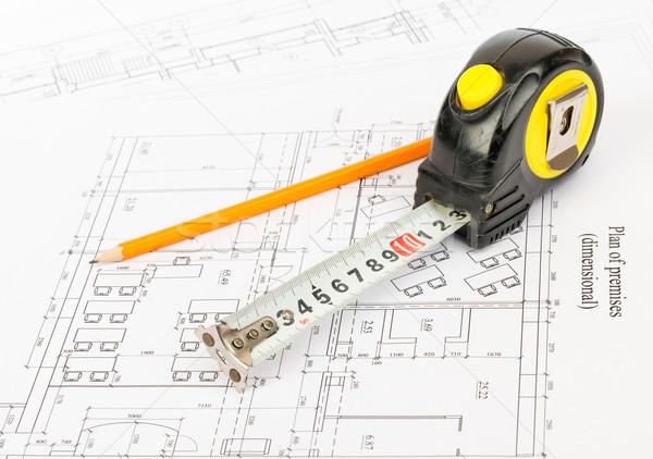 Fita métrica lápis gráfico fita medir Foto stock © cherezoff