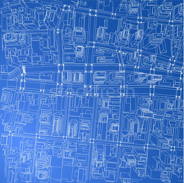 Wire-frame City, Blueprint Style. Vector Stock photo © cherezoff