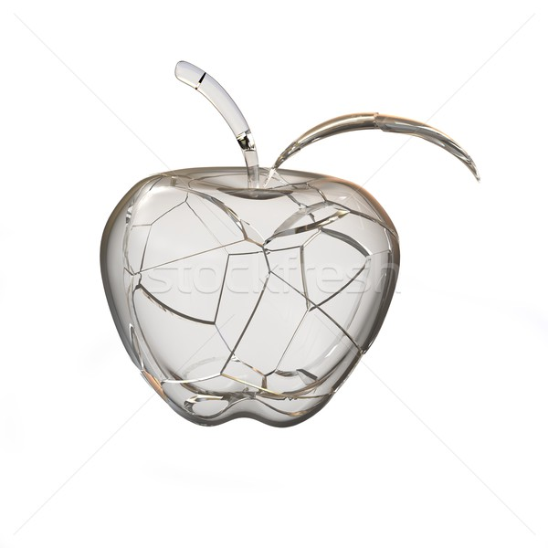 Broken glass apple. 3D rendering Stock photo © cherezoff