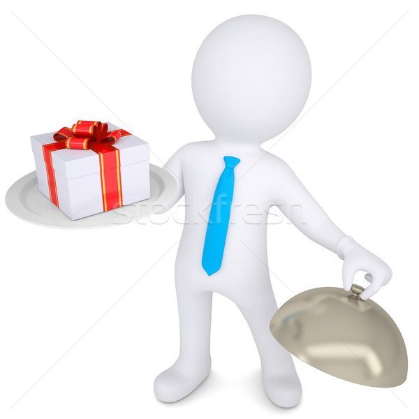 3d man holding a gift box on platter Stock photo © cherezoff