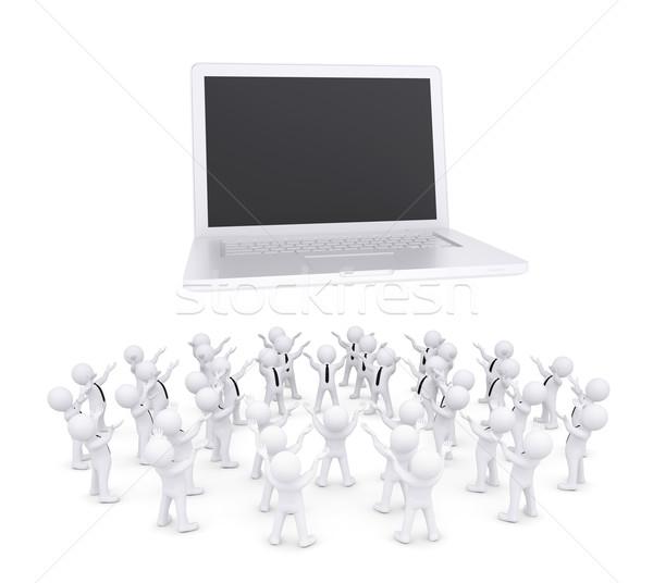 Group of white people worshiping laptop Stock photo © cherezoff