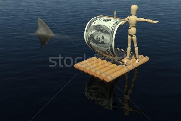 Homem jangada velejar dólar projeto de lei Foto stock © cherezoff