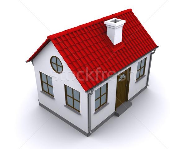 Pequeno casa vermelho telhado branco negócio Foto stock © cherezoff