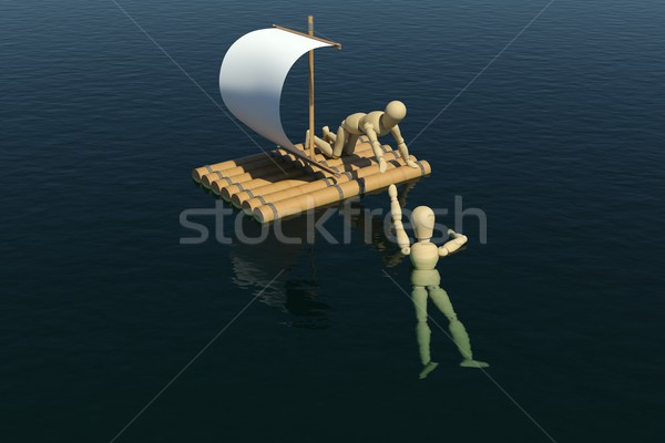 The wooden man on a raft pulled out to a drowning man Stock photo © cherezoff