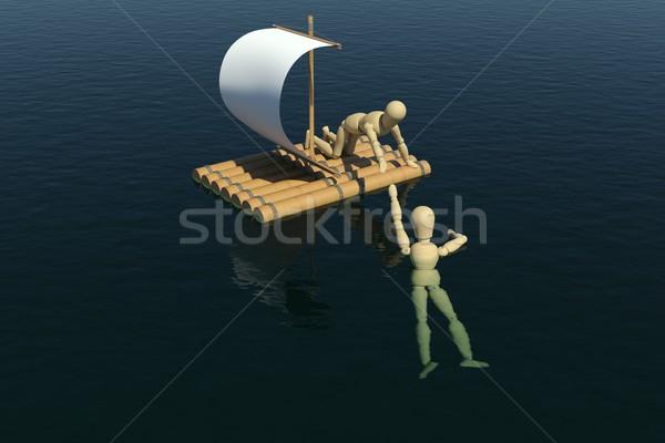 Houten man vlot uit 3D Stockfoto © cherezoff