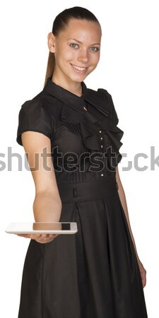 Attractive smiling young woman in black dress Stock photo © cherezoff