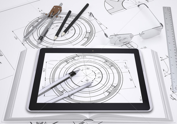 Tablet pc, some draftsman's instruments and technical drawing Stock photo © cherezoff