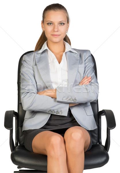 女性実業家 事務椅子 見える カメラ 乳がん ストックフォト © cherezoff