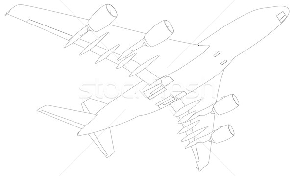 Sketch of airplane. Bottom view. Vector Illustration Stock photo © cherezoff