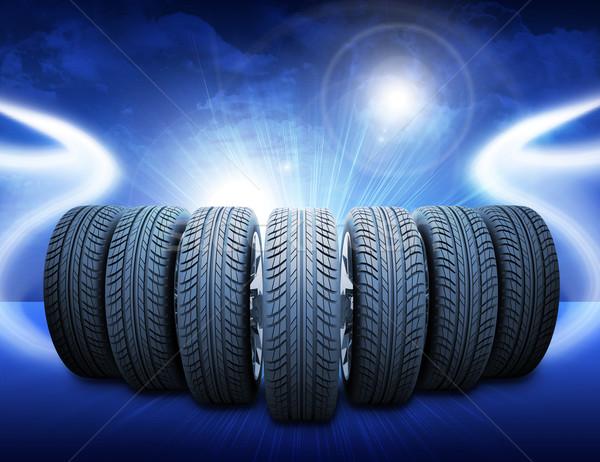 Wig auto wielen abstract Blauw Stockfoto © cherezoff
