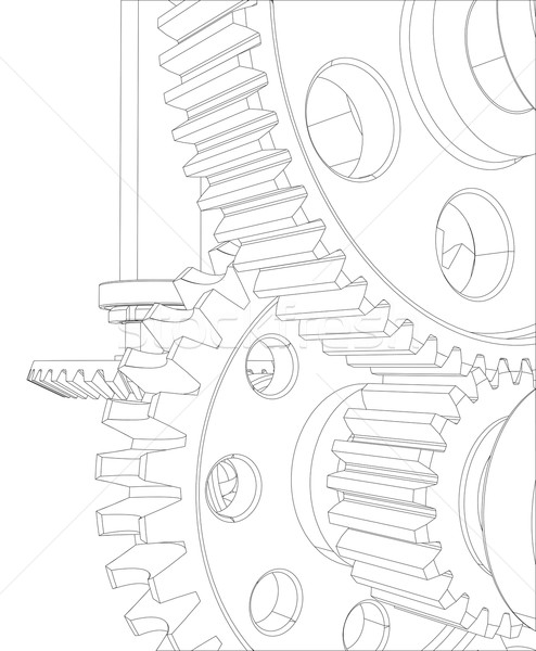 Reducer consisting of gears, bearings and shafts. Close-up. Vector Stock photo © cherezoff