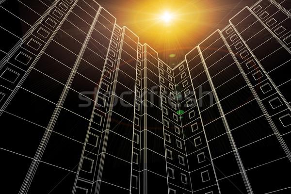 небоскреба 3D модель Flash центр нижний Сток-фото © cherezoff