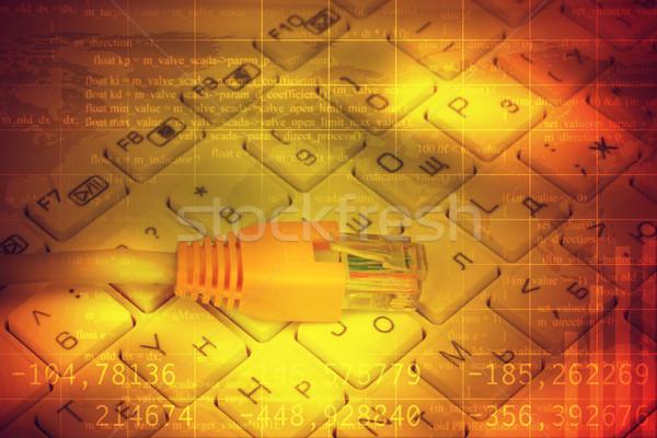 Kabel komputerowy klawiatury streszczenie kolorowy numery komputera Zdjęcia stock © cherezoff
