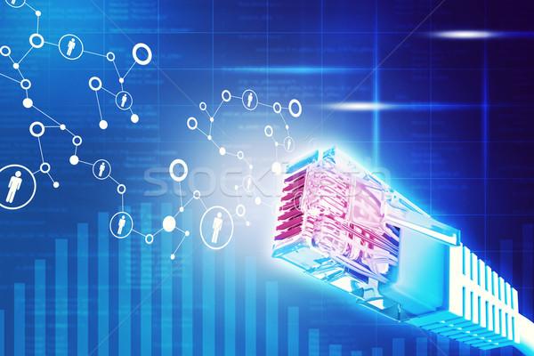 Kolorowy kabel komputerowy streszczenie niebieski wykresy komputera Zdjęcia stock © cherezoff
