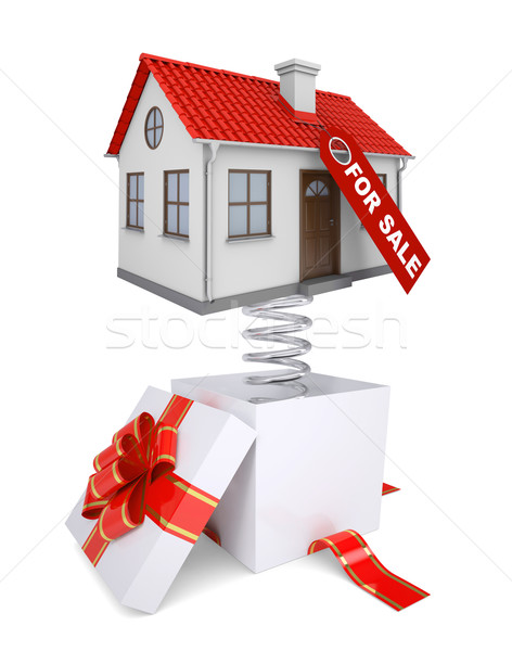 Gift box with red band and house for sale Stock photo © cherezoff