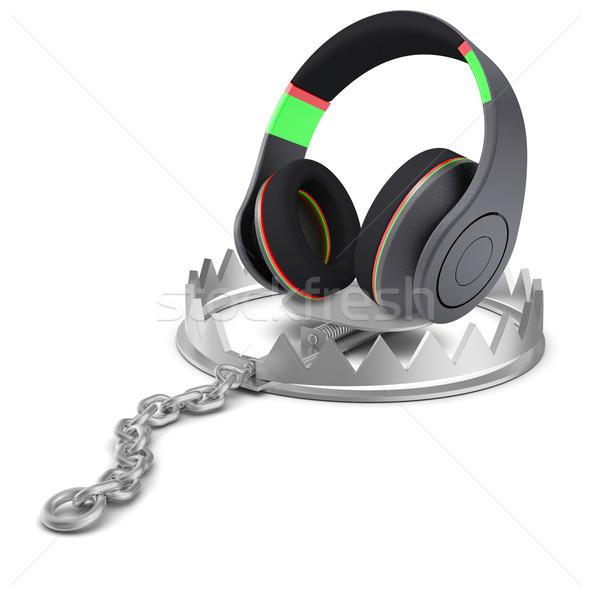 Headphones in bear trap Stock photo © cherezoff
