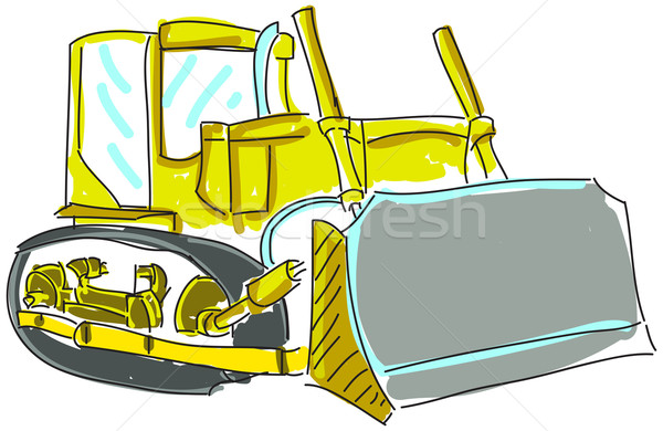 Drawn excavator on white Stock photo © cherezoff