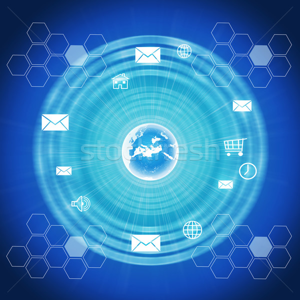 Abstract background with Earth and computer icons Stock photo © cherezoff