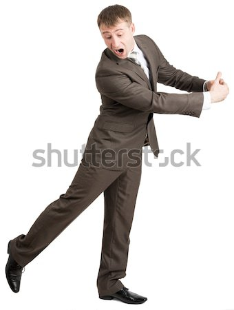 Scared businessman hugging empty space Stock photo © cherezoff