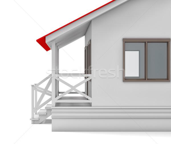 дома покрытый крыльцо окна изолированный Сток-фото © cherezoff