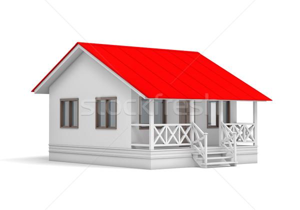 Stok fotoğraf: Küçük · ev · kırmızı · çatı · beyaz · 3D